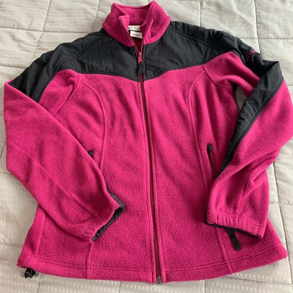 Columbia Jackets & Blazers - Colombia Pink & Black Fleece Jacket Sz M